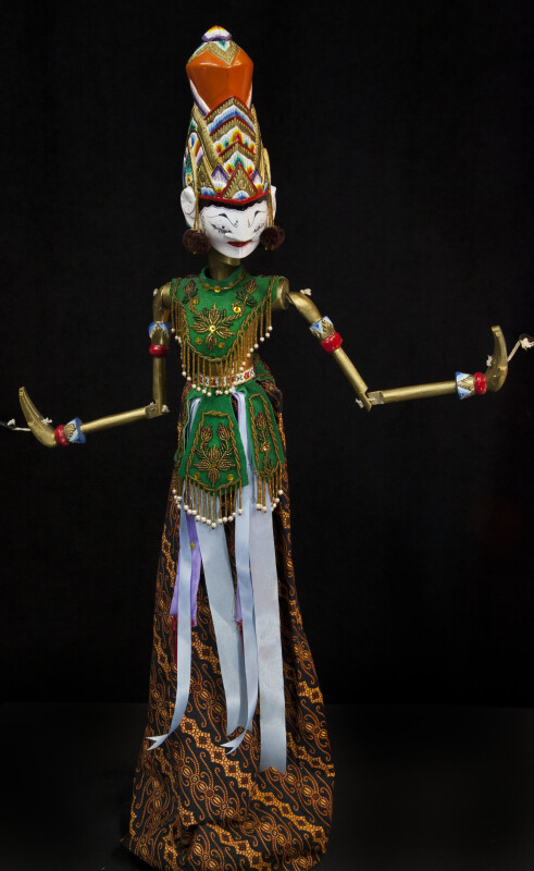 India Handcrafted Rod Puppet of Rama from the Epic Ramayana (Full View)