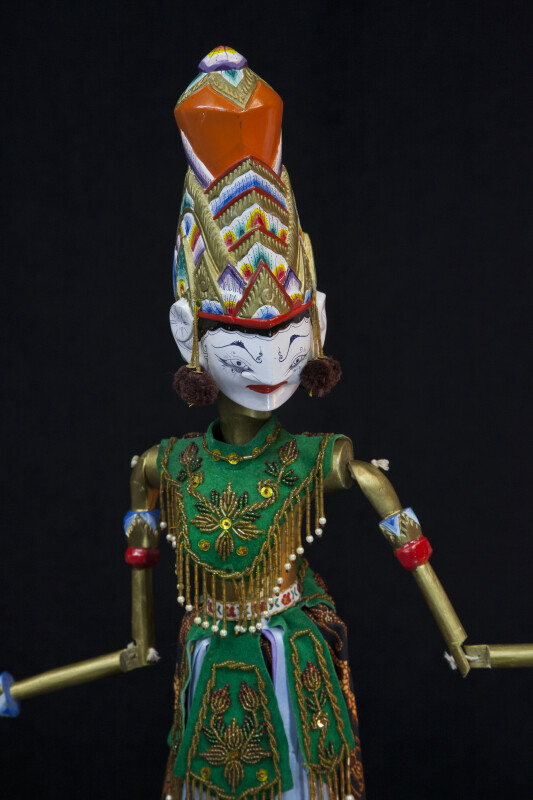 India Rama Rod Puppet with Batik Skirt and Jointed Arms (Three Quarter View)