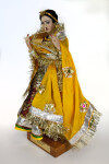 India Traditional Wedding Costume with Golden Veil on Doll from India (Three Quarter View)