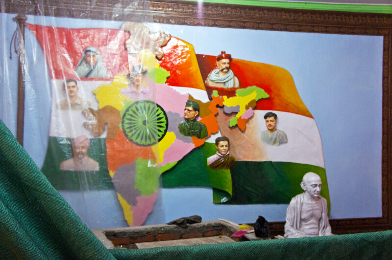 India's Flag with Leaders
