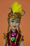 Indonesia Ceramic Doll with Hand Painted Face and Elaborate Headpiece (Close Up)