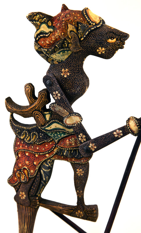 Indonesia  Colorful Batik Shadow Puppet with Articulated Arms Connected to Rods (Three Quarter Length)