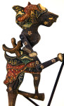 Indonesia  Colorful Shadow Puppet with Articulated Arms Connected to Rods (Three Quarter Length)