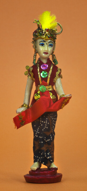 Indonesia Figurine of Woman Wearing Batik Skirt and Gold Jewelry (Full View)