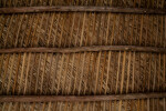 Inside View of Wooden, Palm-Thatched Tiki Hut Roof