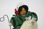 Ireland Doll of Lady Made with Yarn Hair, Lace Scarf and Hand Painted Wooden Bead for Head (Close Up)