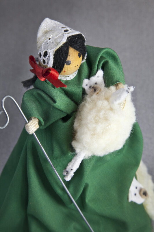 Ireland Figure of Female Shepherd Holding a Staff and Lamb Made from Wool (Three Quarter Length)