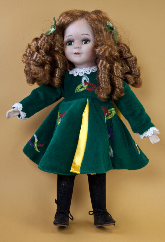 Ireland Irish Doll with Red Hair, Green Eyes, and a Green Velvet Dress (Full View)