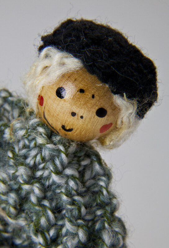 Ireland Sheepshearer Doll with Wool Coat and Wood Bead for Head (Close Up)
