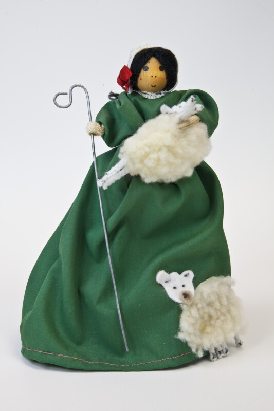 Ireland Woman Shepherd Doll with Long Cotton Dress and Two Lambs Made from Wool (Full View)