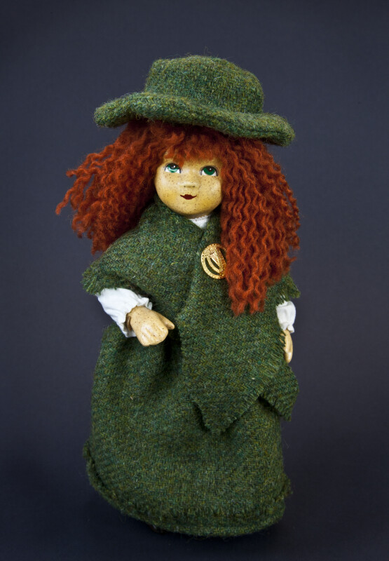 Irish Girl Annie Moore Handcrafted from Ceramic, Fabric, and Yarn (Full View)