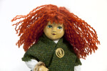 Irish Girl- Annie Moore with Red Hair, Green Eyes, and Green Wool Shawl (Close Up Without Hat)