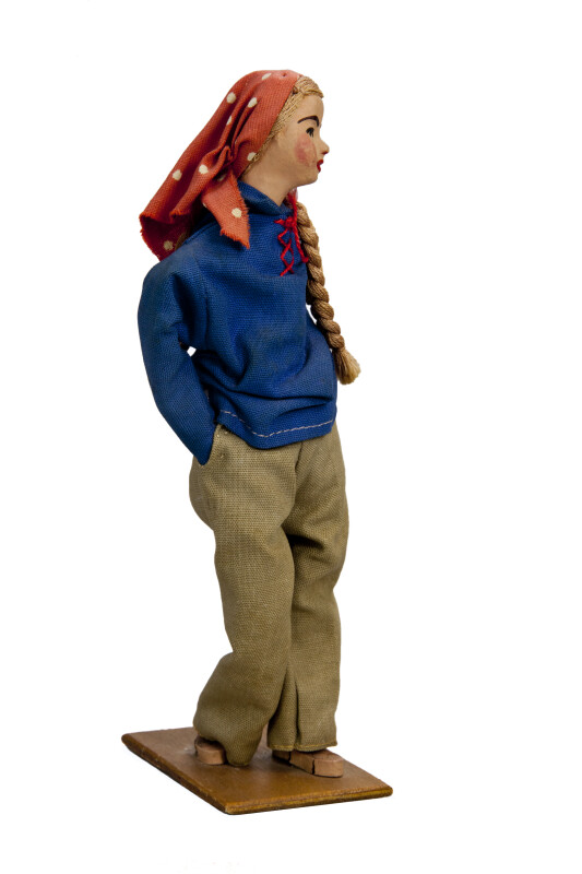 Israeli Young Woman Doll in Scarf, Shirt and Pants (Profile View)