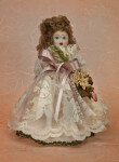Italy Beautiful Porcelain Doll Wearing Lace and Silk Dress (Full View)