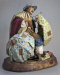 Italy Handcrafted Male Figure Made from Ceramic with Wire and Cloth Umbrellas (Three Quarter View)