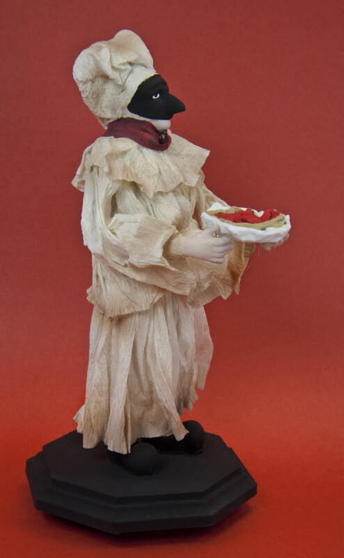 Italy Male Figurine of Masked Server with Plate of Spaghetti (Profile View)