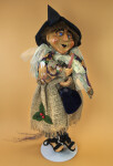 Italy Miniature Witch with Broom and Pointy Black Hat (Full View)