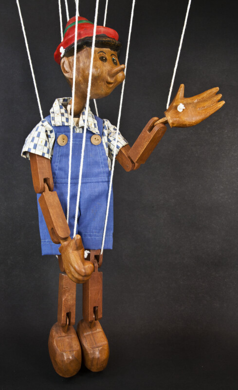 Italy Pinocchio Wooden Puppet Marionette String Controlled  (Three Quarter View)