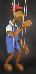 Italy Pinocchio Wooden Toy Marionette Walking with Strings  (Side View)