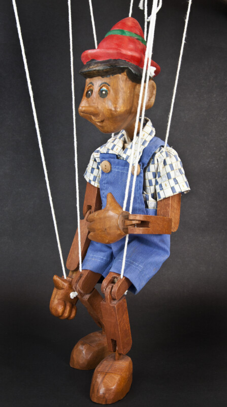 Italy Pinocchio Wooden Toy Puppet Marionette Sitting with Strings  (Side View)
