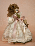 Italy Porcelain Doll with Delicate Lace and Silk Dress (Three Quarter View)