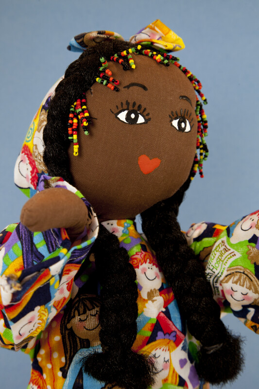 Jamaica Cloth Doll with Braids and Beads in Her Hair (Close Up)