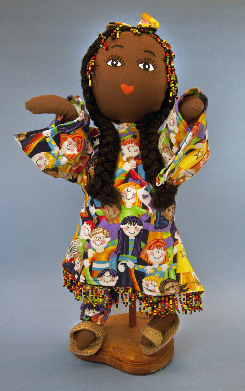 Jamaica Stuffed Cloth Doll with Bright Cotton Dress and Scarf (Full View)