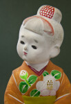 Japan Ceramic Statue of Young Girl with Flowered Kimono (Close Up)