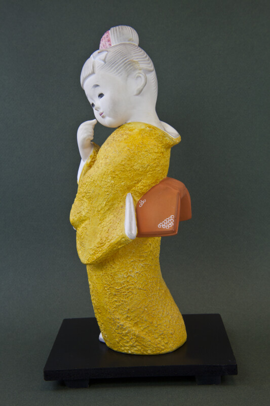 Japan Hand Painted Ceramic Doll with Kimono and Kanzashi Hair Ornament  (Profile View)