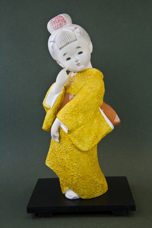 Japan Standing Ceramic Japanese Doll Wearing Kimono (Full View)