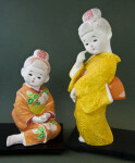 Japan Two Ceramic Girls Wearing Kimonos (Full View)