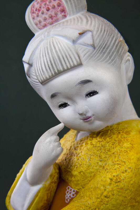 Japan Young Girl with Hand Painted Face (Close Up)
