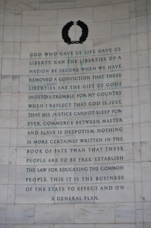 Jefferson to Washington Quote