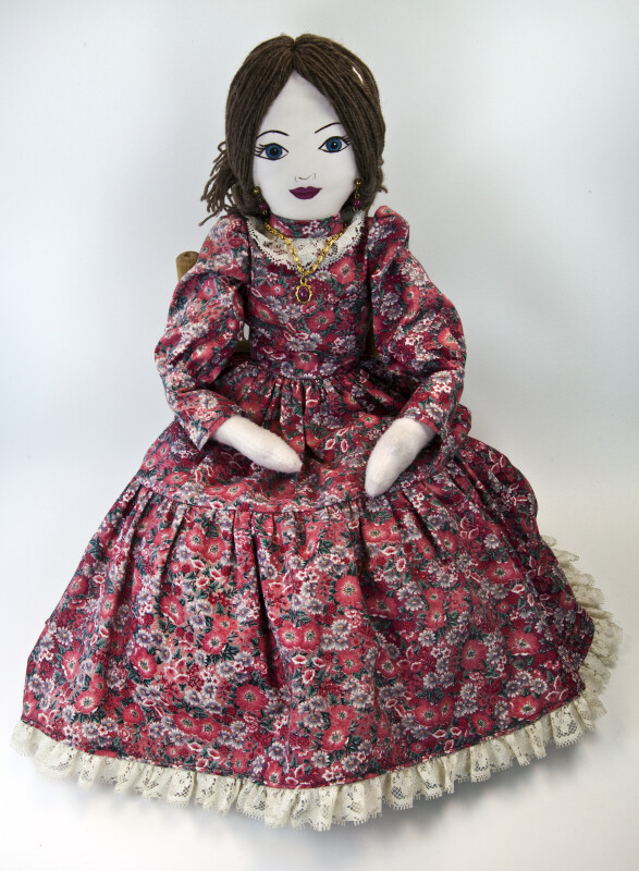 Kansas Pioneer Doll Made with Stuffed Material and Cotton Dress (Full View)