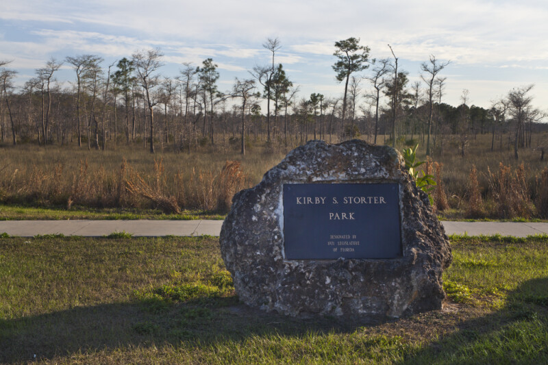 Kirby S. Storter Park Sign in Rock