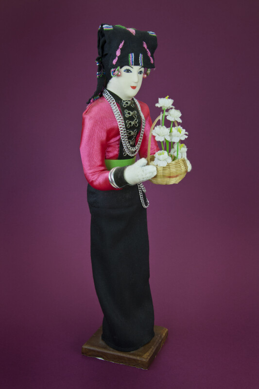 Laos Elaborate Fabric Figure in Traditional Clothing (Three Quarter View)