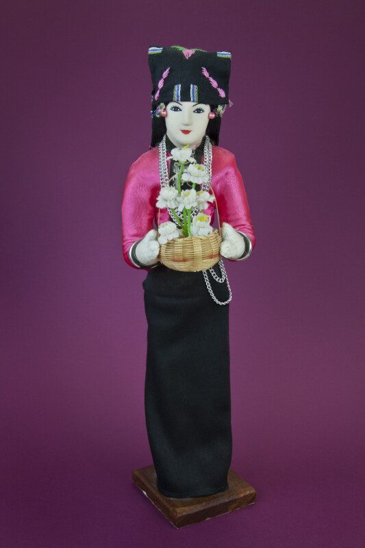 Laotian Fabric Lady with Hand Painted Face and Ornate Head Cover (Full View)