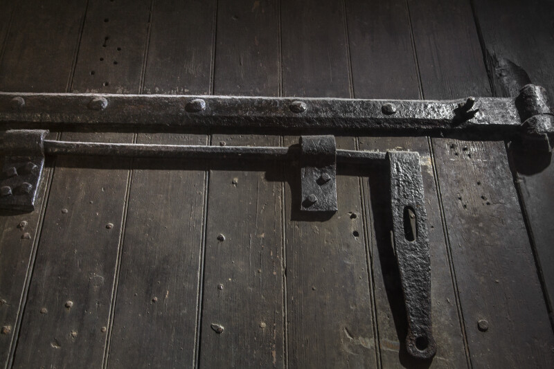 Latches on a Wooden Door at Castillo de San Marcos