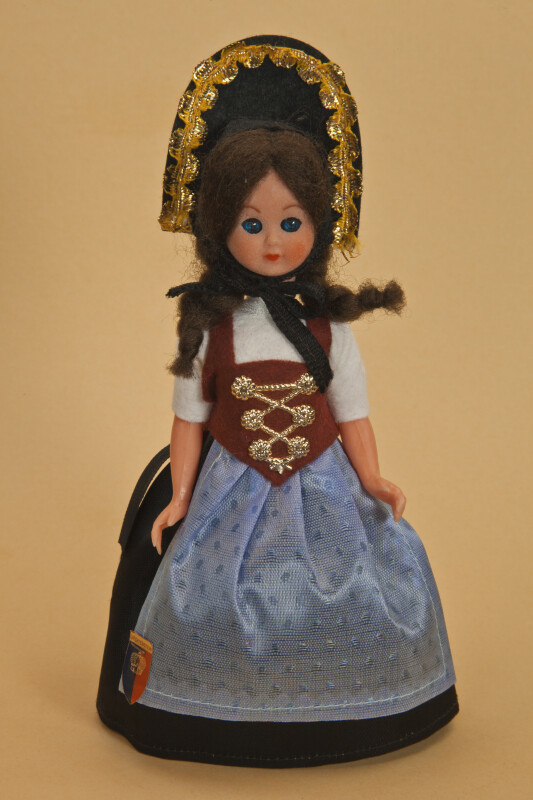 Liechtenstein Plastic Figure of Girl Wearing Traditional Ethnic Costume with Dirndl (Full View)