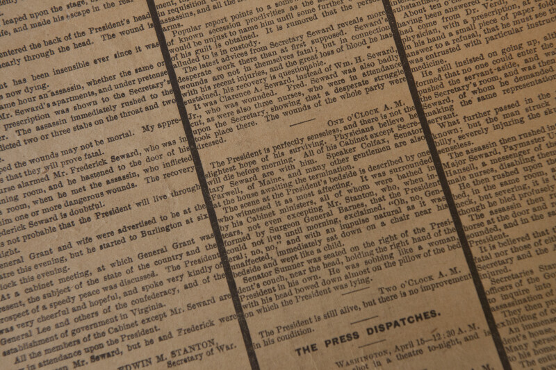 Lincoln Assassination Newspaper Updates