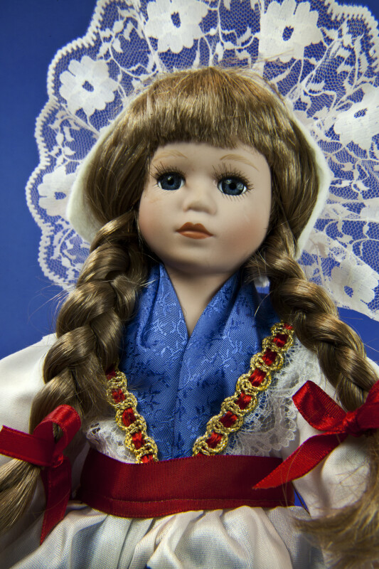 Luxembourg Handcrafted Doll Wearing National Costume Made by Schneider (Close Up)