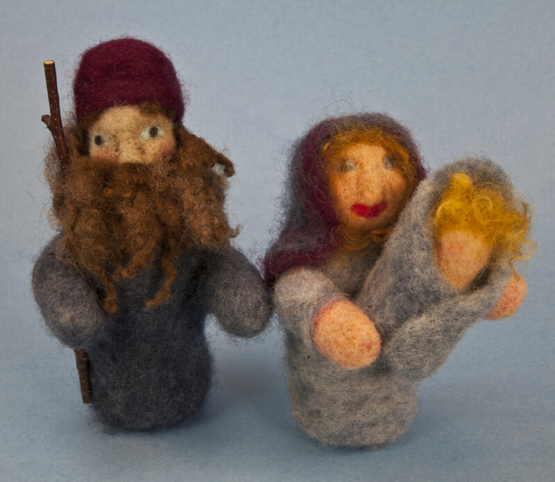 Maine Figurine of Male, Female, and Infant Made with Needle Felting Wool (Full View)