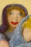 Maine Handcrafted Mother Holding Infant Dolls Made from Colored Needle Felted Wool (Close Up)
