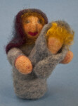 Maine Needle Felt Hand Made Woman and Baby with Colored Wool (Full View)
