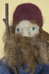 Maine Needlefelted Shepherd Doll with Hat, Greying Beard, and Staff (Close Up)