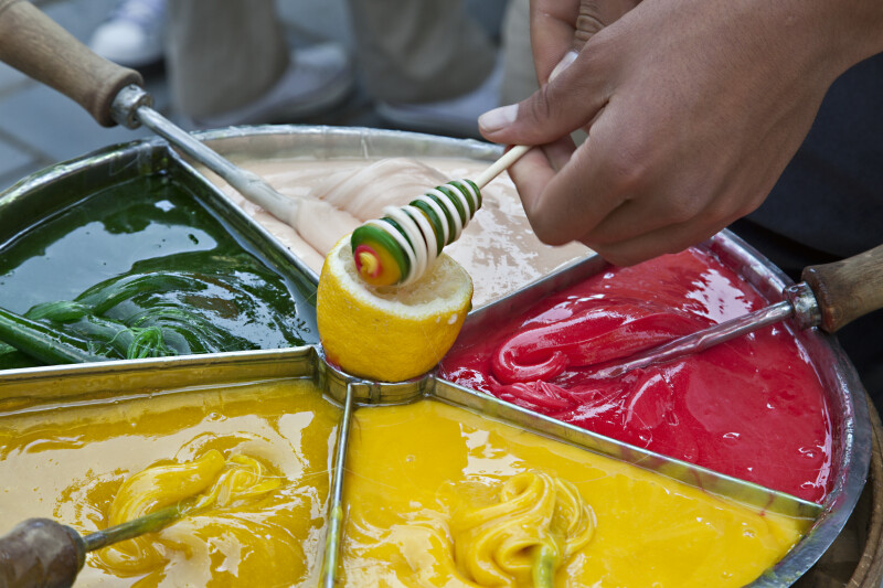 Making Twisted Candy on a Stick in Istanbul, Turkey