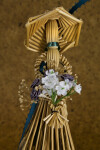 Manitoba, Canada - Wheat Woman Wearing Long Dress and Straw Hat (Three Quarter View)