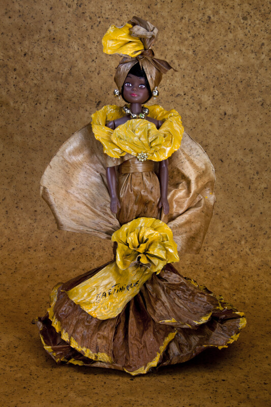 Martinique Plastic Doll with Dress and Head Scarf Made from Banana Leaves  (Full View)