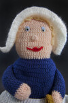 Massachusetts Hand Made Stuffed Yarn Doll with Pilgrim Style Cap and Apron (Close Up)