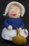 Massachusetts Stuffed Yarn Doll with Pilgrim Style Costume Holding Yarn Basket with Fruit and Nuts (Full View)